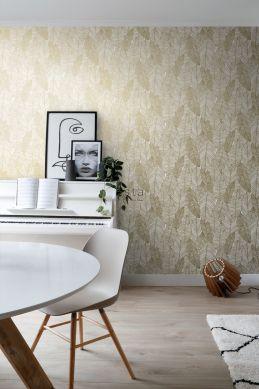 papier peint salon feuilles dessinées blanc et or 139125