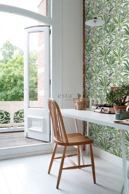 papier peint bureau feuilles tropicales  vert menthe et vert jungle 139189