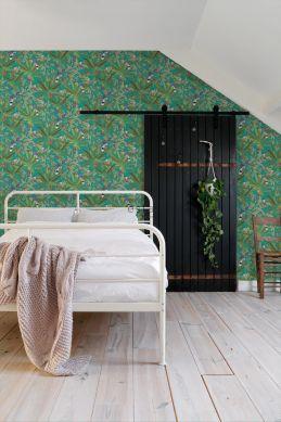 papier peint chambre à coucher feuilles de la jungle tropicale et oiseaux de paradis bleu canard et vert jungle 139233
