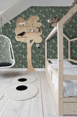 papier peint chambre d'enfant singes de la jungle vert foncé 139234