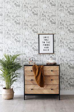 papier peint animaux de la jungle beige et gris