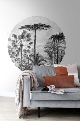 papier peint panoramique rond adhésif salon paysage tropical avec des palmiers noir et blanc 159006