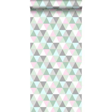 papier peint triangles rose, vert menthe et gris