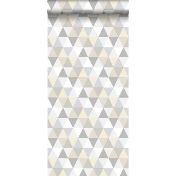 papier peint triangles gris clair, beige et blanc
