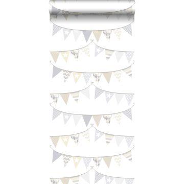 papier peint guirlandes gris clair, beige et blanc brillant