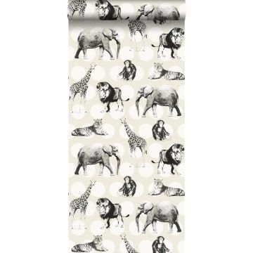 papier peint animaux sur gros points blanc brillant et noir