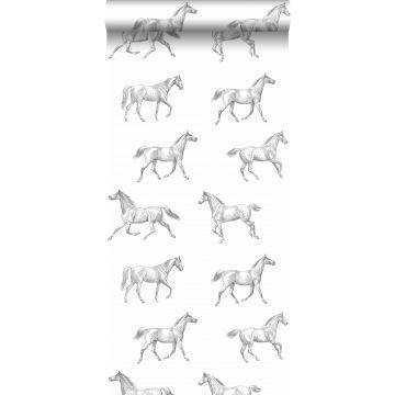 papier peint croquis de chevaux noir sur blanc