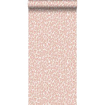 papier peint peau de léopard rose pêche