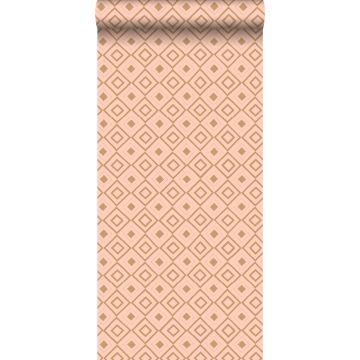 papier peint à carreaux rose pêche et brun cuivré brillant