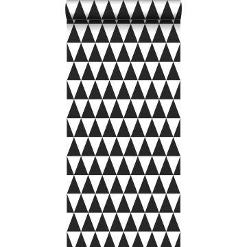 papier peint triangles graphiques noir et blanc mat