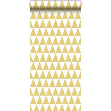 papier peint triangles graphiques jaune ocre