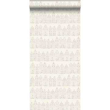 papier peint maisons bordant les canaux d'Amsterdam argent