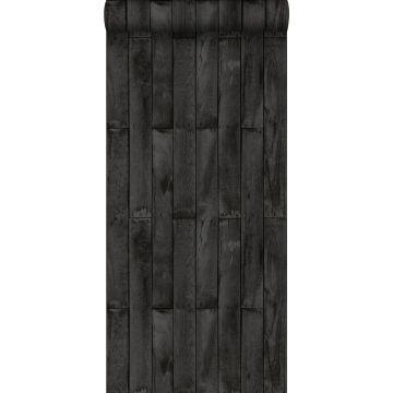 papier peint imitation bois noir