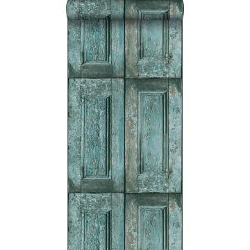 papier peint portes à panneaux turquoise