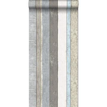 papier peint imitation bois gris et bleu clair