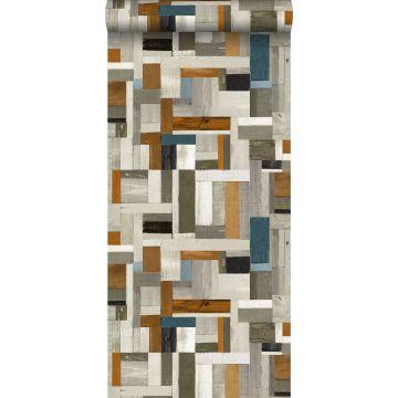 papier peint imitation bois gris, marron et bleu gris