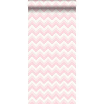 papier peint chevrons rose clair et blanc