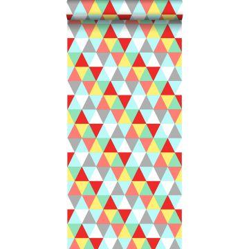 papier peint triangles rouge, jaune et bleu