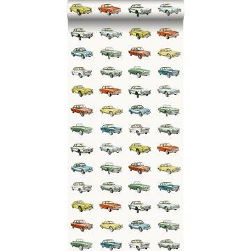 papier peint voitures anciennes vintage orange, jaune ocre et vert