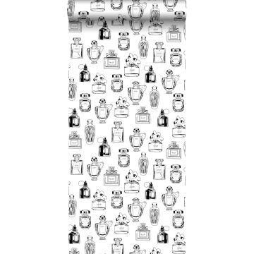 papier peint bouteilles de parfum noir et blanc