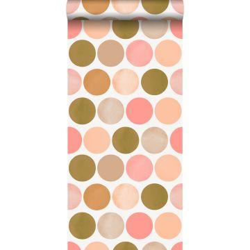 papier peint gros points rose pêche