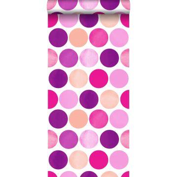 papier peint gros points rose bonbon