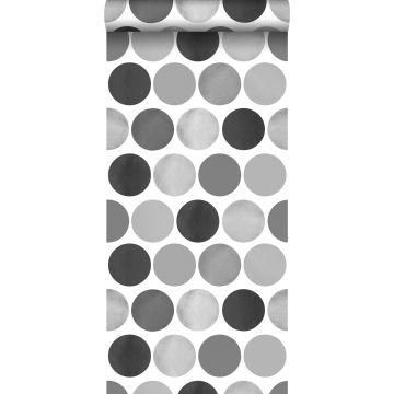 papier peint gros points gris foncé