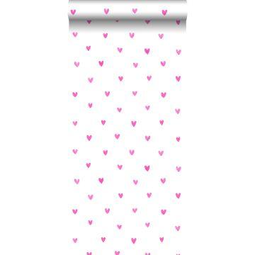 papier peint les coeurs rose bonbon