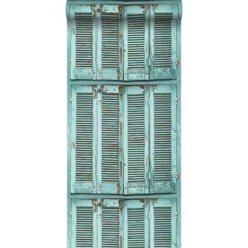 papier peint persiennes altérées en bois rétro vintage turquoise grisé