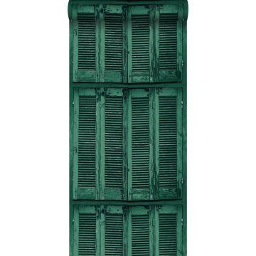 papier peint persiennes altérées en bois rétro vintage vert émeraude intense