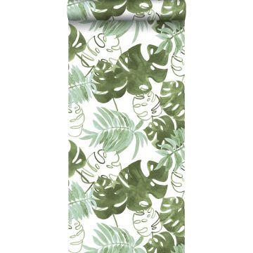 papier peint feuilles tropicales de jungle peintes vert olive grisé