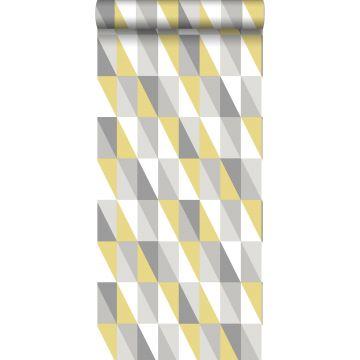 papier peint triangles graphiques jaune ocre et gris