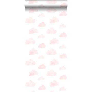 papier peint nuages tamponnés rose clair et blanc