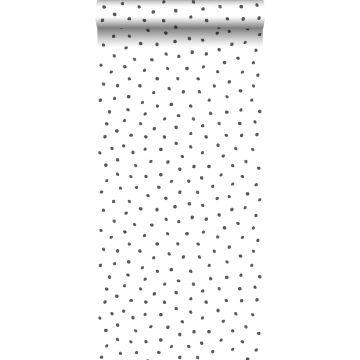 papier peint à motif de points noir et blanc