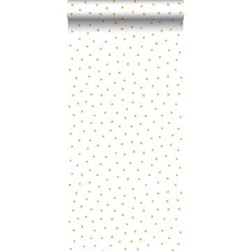 papier peint à motif de points or brillant et blanc