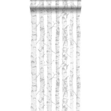 papier peint troncs de bouleau argent et blanc