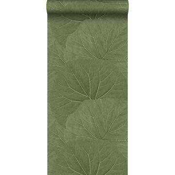 papier peint grandes feuilles vert olive grisé
