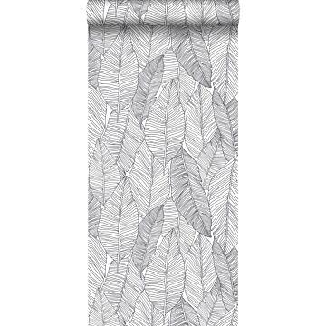 papier peint feuilles dessinées noir et blanc