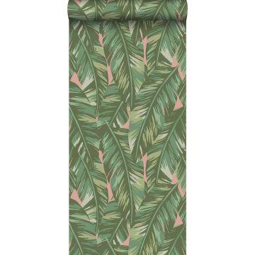 papier peint feuilles de bananier vert olive grisé et rose pêche