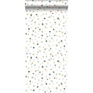 papier peint imitation terrazzo blanc, rose clair et vert menthe