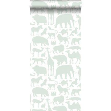 papier peint animaux vert menthe