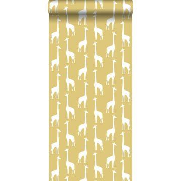 papier peint girafes jaune ocre