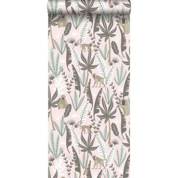 papier peint singes de la jungle rose clair et vert menthe