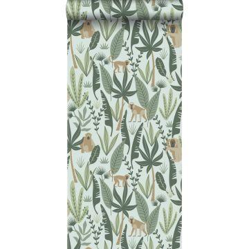 papier peint singes de la jungle vert menthe et vert foncé