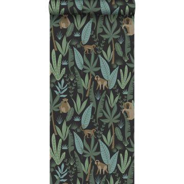 papier peint singes de la jungle noir, vert foncé et vert menthe