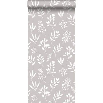 papier peint fleurs au style scandinave gris chaud et blanc