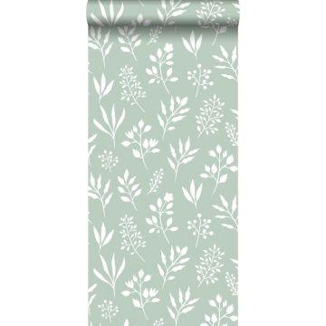 papier peint fleurs au style scandinave vert menthe et blanc