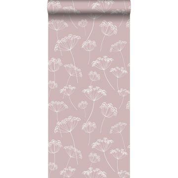 papier peint ombelles vieux rose et blanc