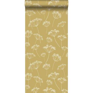 papier peint ombelles jaune ocre et blanc