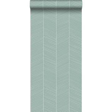papier peint chevron vert menthe grisé